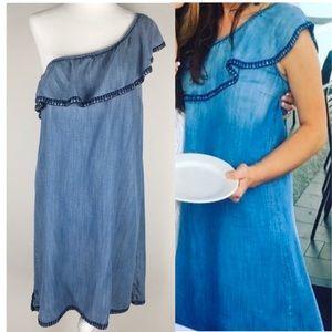 Anthro Cloth & Stone Denim one shoulder dress